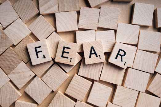 mini blocks of letters forming the word Fear