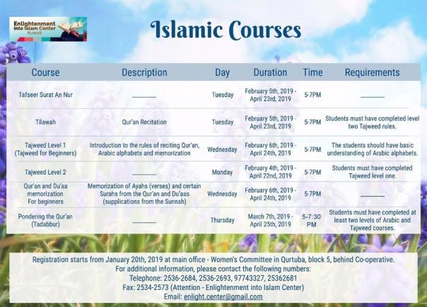 Image of Islamic courses timetable